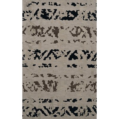Bella Machine Woven Wool Gray Area Rug Rug Size: Oval 12 x 18