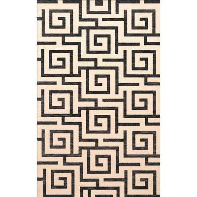 Bella Machine Woven Wool Black Area Rug Rug Size: Square 6