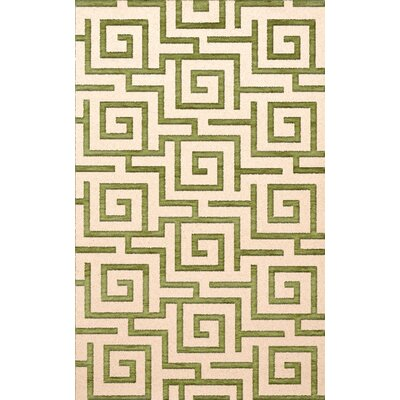 Bella Machine Woven Wool Beige/Green Area Rug Rug Size: Round 12