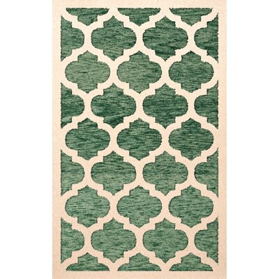 Bella Machine Woven Wool Green/Beige Area Rug Rug Size: Round 4'