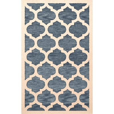 Bella Machine Woven Wool Blue/Beige Area Rug Rug Size: Rectangle 5 x 8