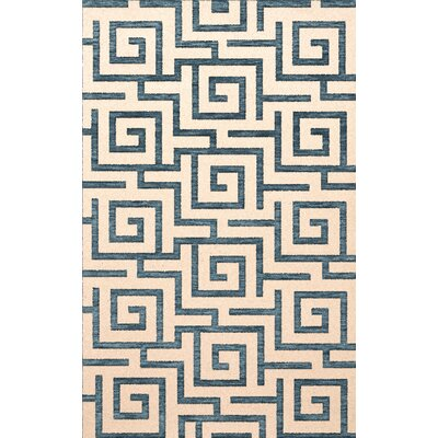 Bella Machine Woven Wool Beige/Blue Area Rug Rug Size: Oval 6' x 9'