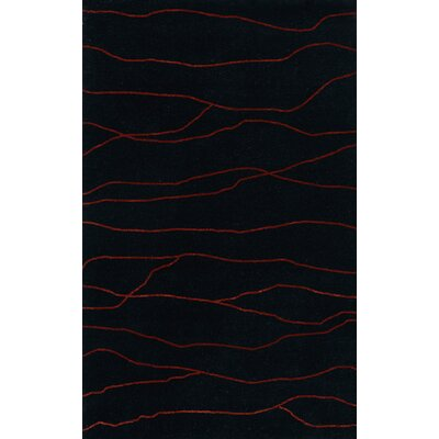 Bella Machine Woven Wool Black Area Rug Rug Size: Oval 12 x 18