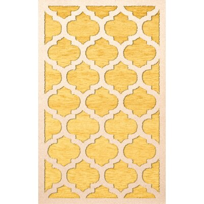 Bella Machine Woven Wool Yellow Area Rug Rug Size: Rectangle 8' x 10'