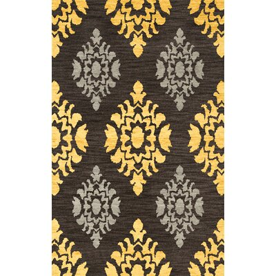 Bella Machine Woven Wool Black/Yellow Area Rug Rug Size: Round 12