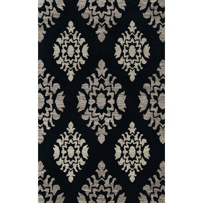 Bella Machine Woven Wool Black/Gray Area Rug Rug Size: Round 4