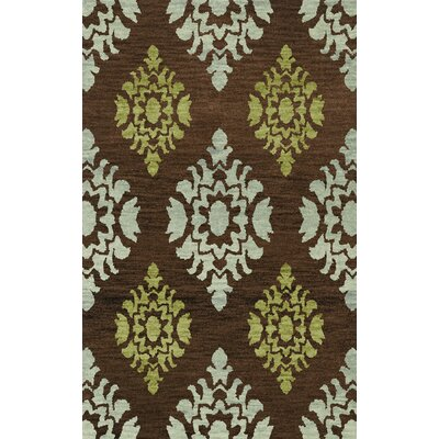 Bella Machine Woven Wool Brown/Blue Area Rug Rug Size: Round 10