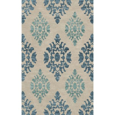 Bella Machine Woven Wool Beige/Blue Area Rug Rug Size: Oval 12 x 18