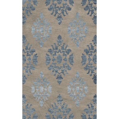 Bella Machine Woven Wool Gray/Blue Area Rug Rug Size: Round 12