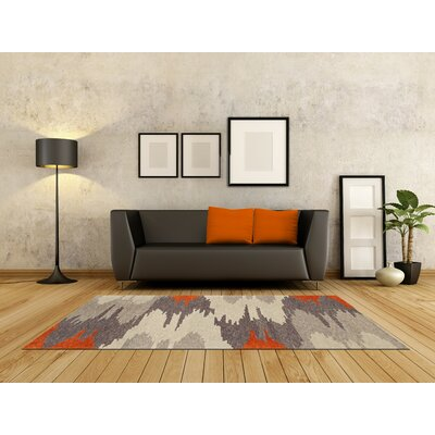 Impulse Orange/Gray Area Rug Rug Size: 9 X 13