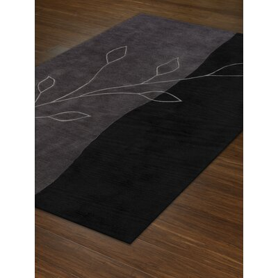 Studio Leaves Black Area Rug Rug Size: 36 x 56