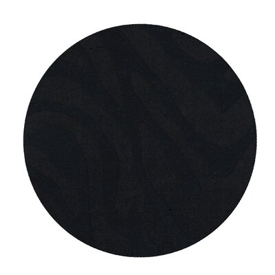 Dover Tufted Wool Black Area Rug Rug Size: Round 4