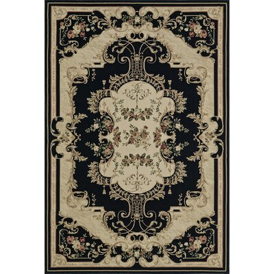 Rosas Black Area Rug Rug Size: Rectangle 53 x 77
