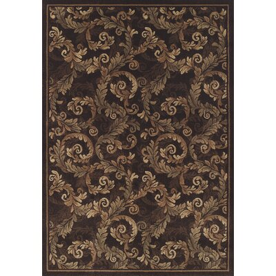 Arends Brown Sable Leaves Area Rug Rug Size: 53 x 77