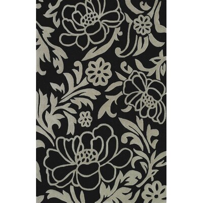 Structures Floral Hand Tufted Wool Black Area Rug Rug Size: Rectangle 96 x 136