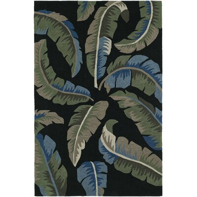 Maui Hand-Tufted Black Area Rug Rug Size: 36 x 56