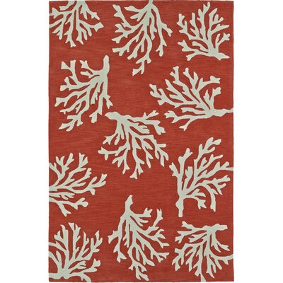 Bovina Hand-Tufted Red Area Rug Rug Size: Rectangle 5 x 76