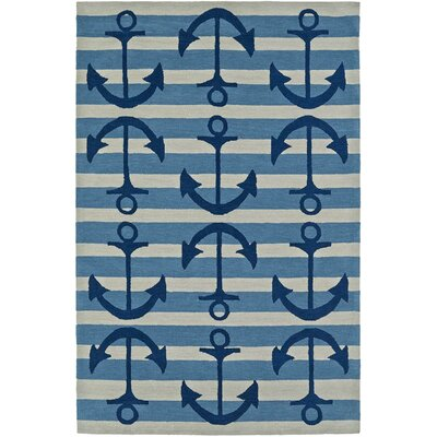 Bovina Hand-Tufted Blue/Ivory Area Rug Rug Size: Rectangle 8' x 10'
