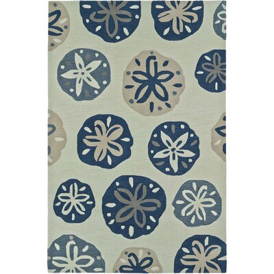 Bovina Hand-Tufted Ivory/Blue Area Rug Rug Size: Rectangle 36 x 56