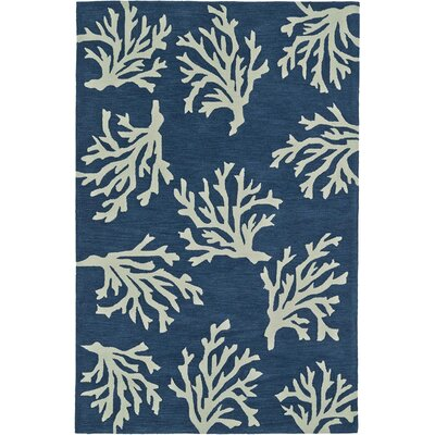 Bovina Hand-Tufted Blue/Ivory Area Rug Rug Size: Rectangle 5 x 76