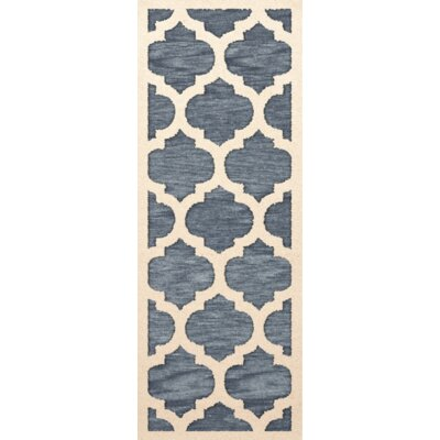 Bella Machine Woven Wool Blue/Beige Area Rug Rug Size: Runner 26 x 10