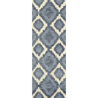 Bella Blue Area Rug Rug Size: Runner 26 x 12