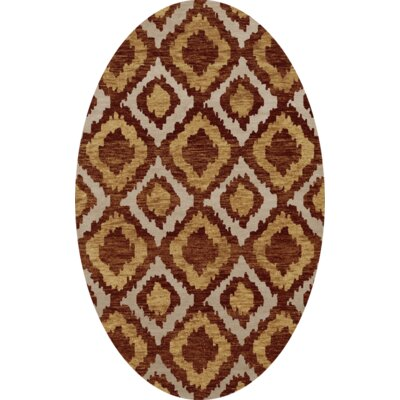 Bella Machine Woven Wool Brown/Beige Area Rug Rug Size: Oval 12 x 18