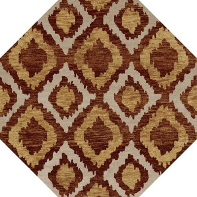 Bella Machine Woven Wool Brown/Beige Area Rug Rug Size: Octagon 6