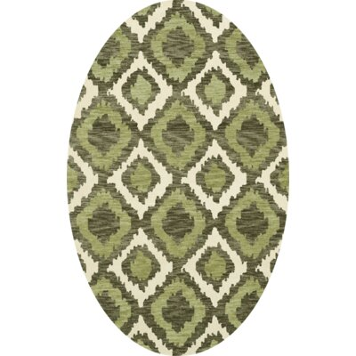 Bella Machine Woven Wool Green Area Rug Rug Size: Oval 6 x 9