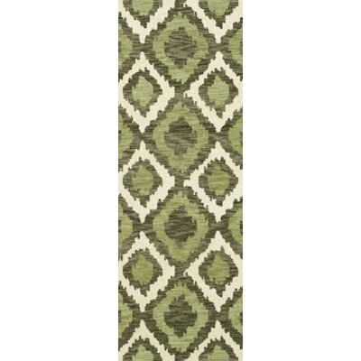 Bella Machine Woven Wool Green Area Rug Rug Size: Runner 26 x 8