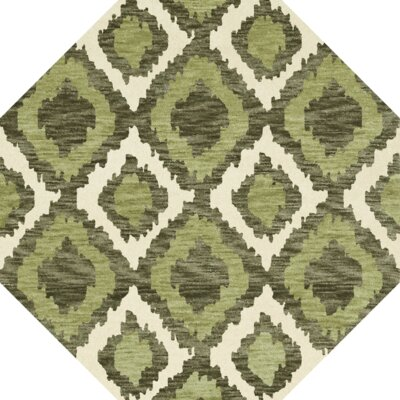 Bella Machine Woven Wool Green Area Rug Rug Size: Octagon 12