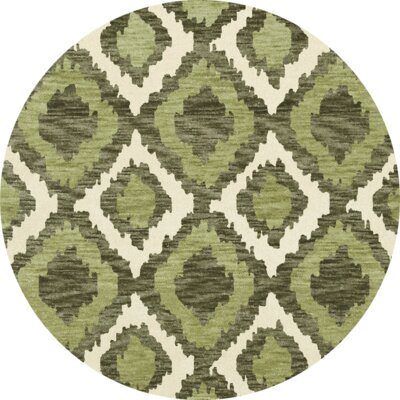 Bella Machine Woven Wool Green Area Rug Rug Size: Round 4