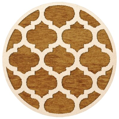 Bella Orange Area Rug Rug Size: Round 8