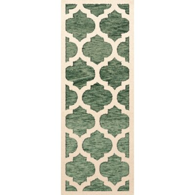 Bella Machine Woven Wool Green/Beige Area Rug Rug Size: Runner 26 x 8