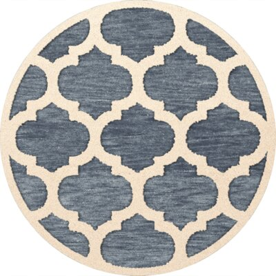 Bella Machine Woven Wool Blue/Beige Area Rug Rug Size: Round 6