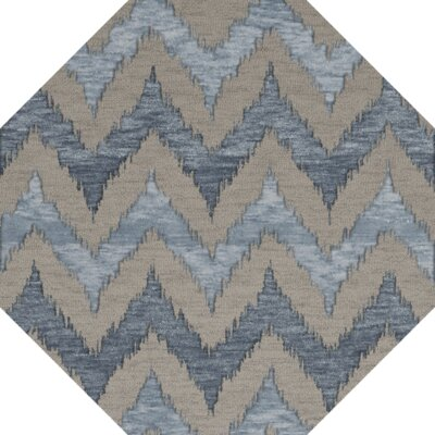 Bella Machine Woven Wool Beige/Blue Area Rug Rug Size: Octagon 6