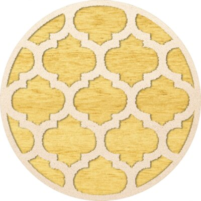 Bella Machine Woven Wool Yellow Area Rug Rug Size: Round 8'