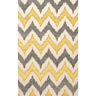 Bella Machine Woven Wool Beige/Gray/Yellow Area Rug Rug Size: Rectangle 4 x 6