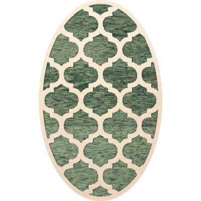 Bella Machine Woven Wool Green/Beige Area Rug Rug Size: Oval 12 x 18