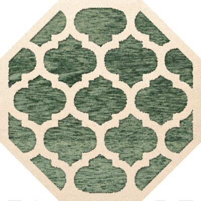 Bella Machine Woven Wool Green/Beige Area Rug Rug Size: Octagon 12