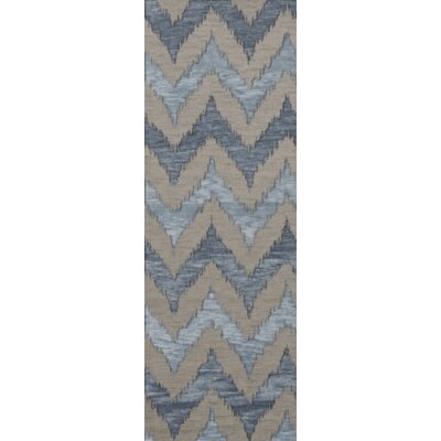 Bella Machine Woven Wool Beige/Blue Area Rug Rug Size: Runner 26 x 12