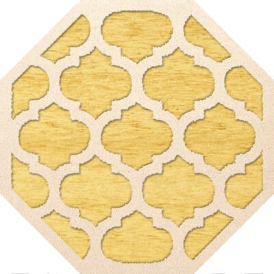 Bella Machine Woven Wool Yellow Area Rug Rug Size: Octagon 6
