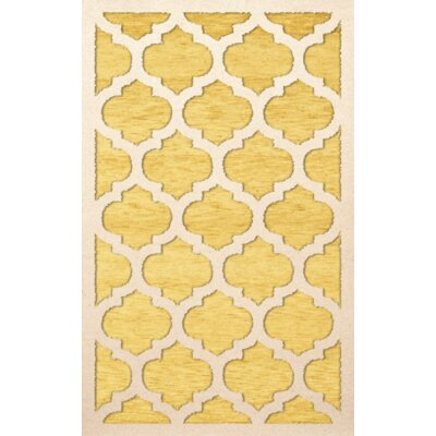 Bella Machine Woven Wool Yellow Area Rug Rug Size: Rectangle 10' x 14'