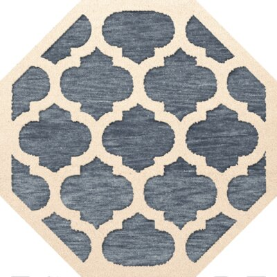 Bella Machine Woven Wool Blue/Beige Area Rug Rug Size: Octagon 6