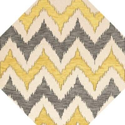 Bella Machine Woven Wool Beige/Gray/Yellow Area Rug Rug Size: Octagon 10