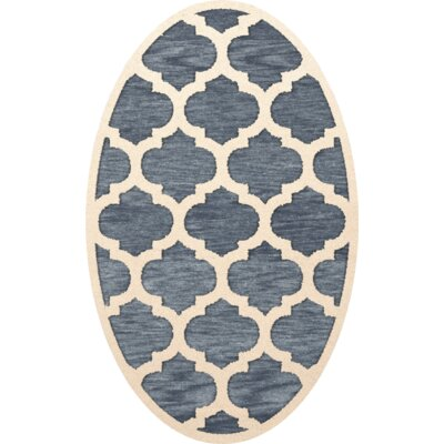 Bella Machine Woven Wool Blue/Beige Area Rug Rug Size: Oval 4 x 6