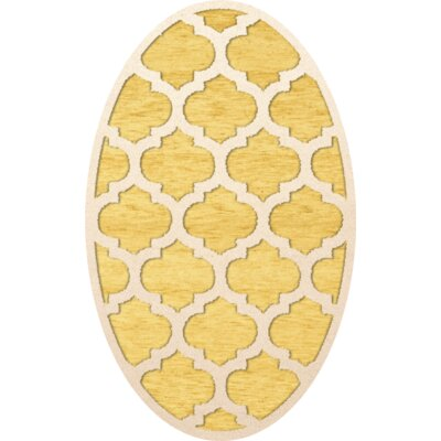 Bella Machine Woven Wool Yellow Area Rug Rug Size: Oval 12' x 15'