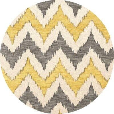 Bella Machine Woven Wool Beige/Gray/Yellow Area Rug Rug Size: Round 12