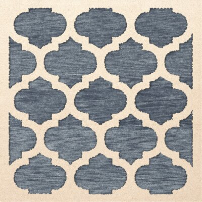 Bella Machine Woven Wool Blue/Beige Area Rug Rug Size: Square 12