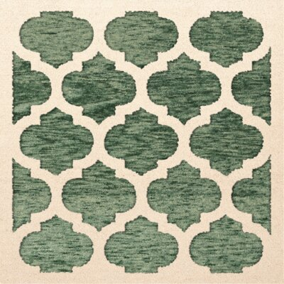 Bella Machine Woven Wool Green/Beige Area Rug Rug Size: Square 12